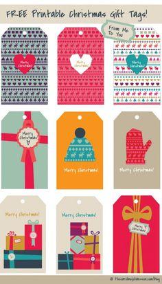 Colorful Free Christmas Gift Tag Printables - The Caroline Johansson Free Printable Christmas Gift Tags, Holiday Gift Tags, Holiday Fun, Printable Tags, Noel Christmas, All Things Christmas, Christmas Gifts, Christmas Decor, Illustration Noel