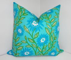 Blue Green Floral Print Pillow Covers Decorative by HomeLiving