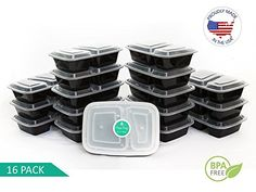 Meal Prep Container | 2 Compartment | USA Made | Portion Control Container | 16 Pack Meal Prep Containers  TOP QUALITY MEAL PREP- Our meal prep containers are Proudly made right here in the USA with BPA Free plastic.  THE HEALTHY CHOICE - Meal prepping techniques make the healthiest choice the most convenient choice. Our Meal Prep Containers help develop sustainable habits that build a healthy lifestyle.  SAVE TIME, MONEY AND STAY FIT - Meal prep techniques save TIME and MONEY, Buy in ...