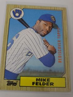 2017 Topps Series 1 87 Mike Felder Brewers Buyback Rediscover Bronze Stamp Card #topps #MilwaukeeBrewers