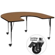 Flash Furniture Mobile 60''W x 66''L Horseshoe Shaped Activity Table with Oak Thermal Fused Laminate Top and Standard Height Adjustable Legs [XU-A6066-HRSE-OAK-T-A-CAS-GG]
