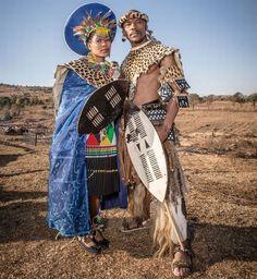 Zulu Bride and Groom Zulu Traditional Attire, Zulu Traditional Wedding, African Traditional Dresses, Traditional Outfits, African Attire, African Wear, African Dress, African Inspired Fashion, African Fashion Dresses