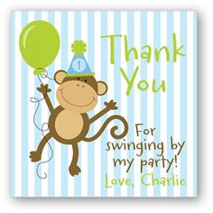 Monkey Birthday Favor Sticker or Tag