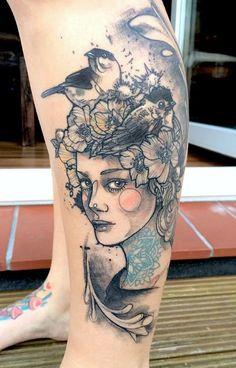 Artist Spotlight : Watercolor Tattoos by Anki Michler 3 Tattoo, Pin Up Tattoos, Great Tattoos, Piercing Tattoo, Beautiful Tattoos, Flower Tattoos, Body Art Tattoos, Girl Tattoos, Sleeve Tattoos
