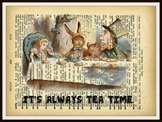 Beautiful art print. Unframed Reproduction Vintage Art Print, Wall Decor Nursery Print, Alice in Wonderland Tea Party Vintage Art Print Would look lovely in a child's room. Perfect for baby's nursery