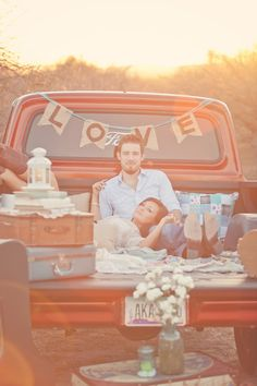 Vintage engagement, truck, desert