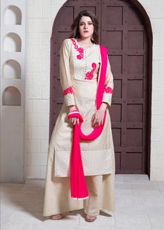 Beige Tussar Silk Readymade Palazzo Style Suit 70222