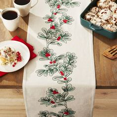 Set a stunning scene during the holidays with Christmas dining. Spruce up the table with decorative runners, plates, napkins and other festive essentials. Christmas Table Linen, Christmas Tabletop, Christmas Runner, Christmas Napkins, Christmas Tablescapes, Holiday Tables, Christmas Fabric, Christmas Tree, Christmas Templates