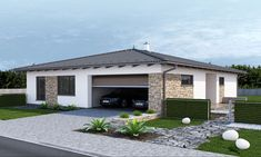 Luxusný bungalov projekt - dobro | aphaus.sk Home Building Design, Building A House, House Design, Facade House, Planer, My House, House Plans, Exterior, Living Room