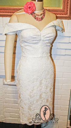 Joyce Pinup Wedding Dress-Short Wiggle Skirt-1950s Lace Off Shoulder Style-CUSTOM made
