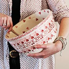 Emma Bridgewater Pottery - red, white, and pink Heart-themed Sampler mixing bowl from 2013.