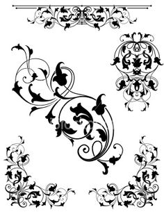 stock-illustration-5956646-light-arabesque-black-leaf-scroll-set.jpg (294×380)