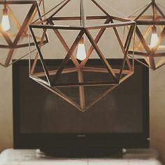 lampara diamante vintage colgante de hierro 90cm diametro