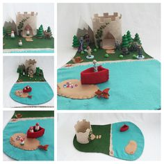 Lake Castle Playscape play mat pretend open-ended storytelling fairytale storybook Dollhouse boat island