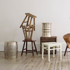 Our decorative Frette stool is made from brass by artisans in India.