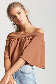 Product Name:French Terry Off-the-Shoulder Top, Category:CLEARANCE_ZERO, Price:10