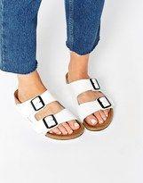 Birkenstock Arizona White Patent Leather Regular Fit Slider Flat Sandals