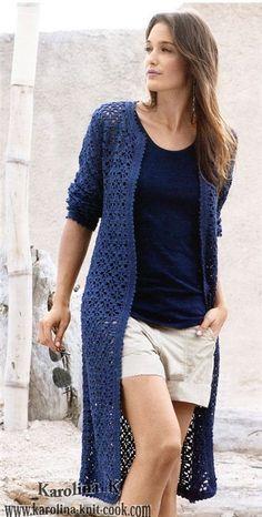 Crochetemoda Blog: Crochet - Casaco Pull Crochet, Gilet Crochet, Mode Crochet, Crochet Cardigan Pattern, Crochet Jacket, Knitted Coat, Crochet Blouse, Crochet Poncho, Sweater Patterns