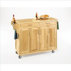 Home Styles 9200-1011 Create-a-Cart Cabinet Kitchen Cart with Wood Top, Natural Finish by Home Styles. $368.00. At one end there is a spice/condiment rack with a towel bar while the other end features a paper towel holder. Measures 48-3/4-inch width by 17-3/4-inch depth by 34-3/4-inch height. Natural finish cabinet with a wood top having four cabinets, two drawers, and three adjustable shelves. Construction consists of sustainable hardwood with a clear coat finish. Crea...