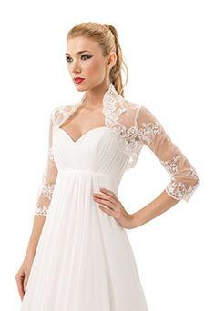 Damen Hochzeit Spitze Bolero fur die Braut Bolero Jacke 3/4 langer armel, mit Perlen, Flittern und silberner Naht OssaFashion http://www.amazon.de/dp/6040595574/ref=cm_sw_r_pi_dp_5PfYwb1ZN9GTE