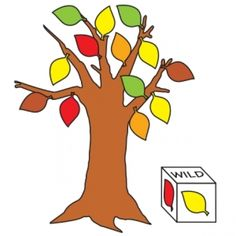 """Autumn Leaves,Reinforce color-matching skills with this fun game. Mount a simple poster board tree to a wall. Use temporary adhesive to attach a supply of red, yellow, orange, green, and brown tagboard leaves to the tree. Make a leaf die as shown, designating one side of the die as wild. In turn, each child rolls the die and then removes an appropriate leaf from the tree. If a student rolls the """"wild"""" side, he removes a leaf of his choice. Youngsters continue until all the leaves have…"""