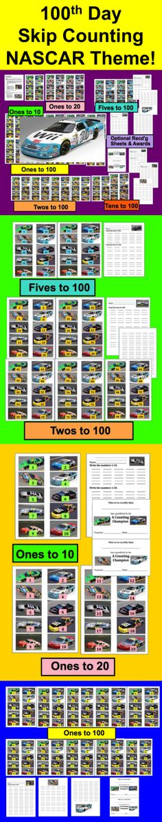 $ 100th Day of School NASCAR Counting and Skip Counting Activities - 32 Page Download – Perfect for 100th Day or any day!  Print in color or grayscale. NASCAR race cards make this activity perfect for an introduction to or  review of counting and skip counting by ones, twos, fives, and tens to 100.