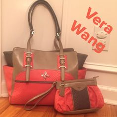 "NWOT Vera Wang Color-Block Bag w/Wristlet Simply Stunning by Simply Vera/ Vera Wang!!!  Beautiful colors or a Bright Coral, Taupe and med.Gray. Extra large bag with large matching wristlet. Adjustable shoulder straps /13"" drop, logo on front and additional pouch on either side. Interior has sign. VW satin fabric, iPad holder, 2 slip pockets on one side compartment which is divided my full zip pocket, other compartment has zip pocket. Bag (17""x12""x4"") Wristlet w/ out and inside zip pockets…"