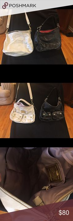 Coach bags White and a black soft leather bag one has a short and long strap, the black is in fair condition the white in very good condition Coach Bags Satchels