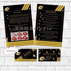 LipSense Bundle Pack LipSense Business Cards Lipsense tips and tricks card How to Apply card SeneGence Application Instructions lip sense by BNMBstudio on Etsy