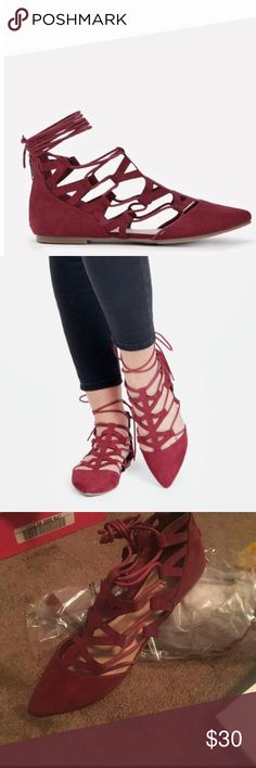 Maroon lace up flats Brand new! Super cute Shoes Flats & Loafers