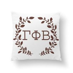 "Gamma Phi Beta Wreath Pillow - 10"" or 16"" - Sorority Pillow, Big Little Gift, Sorority Life, Dorm Decor"