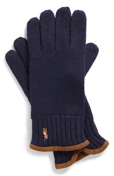 Men's winter fashion | Classic style navy Polo Ralph Lauren wool gloves.