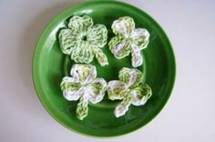 Custom Crochet Three Shamrocks and One Four Leaf Clover Appliques for Art Projects, Brooches by customcrochet for $3.25