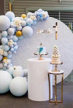 Stunning DIY Pastel Blue & Chrome Gold Balloon Garland Kit-Party Decorations for sale online Baptism Party Decorations, First Communion Decorations, Balloon Decorations, Baby Shower Decorations, Baby Boy Christening Decorations, Balloon Garland, Balloons, Ideas Bautizo, Baby Boy Baptism