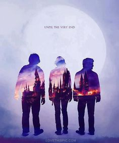 Harry Potter Trio.Until the very end Purple sky moon poster