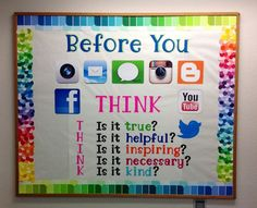 Really neat idea for a classroom bulletin board emphasizing digital citizenship. I think parents would like to see this as they walked in the classroom and ...