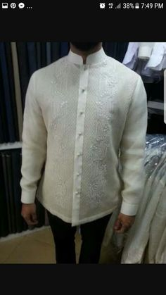 Modern Filipino Barong made of piña cocoon. Tailored by Jose Mari Haberdashery. Shop is located at Kamuning Market, Quezon City, Philippines Tailor is Joemar Habana. Barong Tagalog Wedding, Barong Wedding, Filipiniana Wedding Theme, Wedding Tux, Wedding Gowns, Orange Wedding Guest Dresses, Wedding Outfits For Groom, Wedding Dresses With Flowers, Plus Prom Dresses