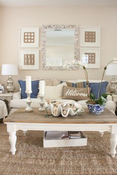 Blue and White Living Room and Dining Room - Starfish Cottage Blue And White Living Room, Cream Living Rooms, Coastal Living Rooms, New Living Room, My New Room, Home And Living, Living Room Decor, Dining Room, Cottage Living