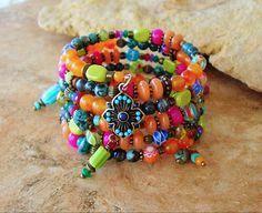 Tropical Bracelet, Boho Bracelet, Rainforest, Wrap Bracelet,  Colorful Jewelry, Boho Chic, Original Handmade Bohemian Jewelry by Kaye Kraus by BohoStyleMe on Etsy