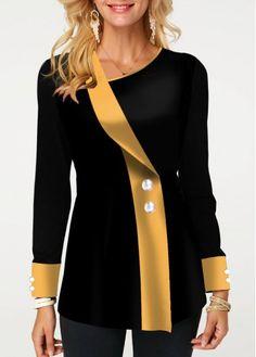 Asymmetric Neckline Button Detail Contrast Panel T Shirt – T-Shirts & Sweaters Fashion 2018, 90s Fashion, Womens Fashion, Trendy Fashion, Trendy Tops For Women, Orange Blouse, Indian Couture, Traditional Dresses, Ideias Fashion