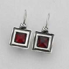 SHABLOOL ISRAEL Handcrafted Red Garnet Sterling Silver 925 Earrings