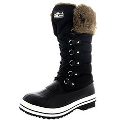 Womens Nylon Warm Side Zip Fur Duck Muck Lace Up Rain Winter Snow Boots  9  BLK40 YC0116 ** You can get additional details at the image link.