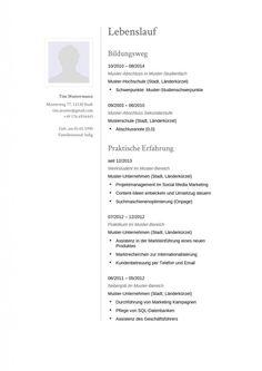 Moderner Lebenslauf für die Bewerbung mit klassischen Schriftarten zum kostenlosen Download.