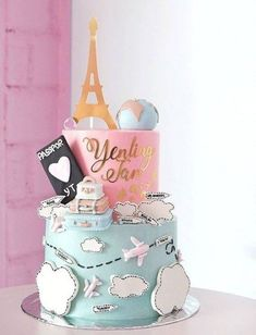 travel cake ideas birthdays - travel cake ` travel cake ideas ` travel cake birthday ` travel cake topper ` travel cake ideas birthdays ` travel cake wedding ` travel cake pops ` travel cake ideas the world Paris Themed Cakes, Paris Cakes, Fancy Cakes, Cute Cakes, Fondant Cakes, Cupcake Cakes, Pink Cupcakes, Sweets Cake, Bolo Paris