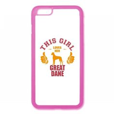 this girl loves her great dane t shirt design iPhone 6/6s Rubber Case