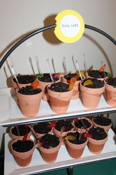 Bug Party Food:  dirt cups with mini spoons