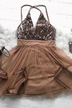On Sale Suitable Short Homecoming Dresses Sparkly Rose Gold Short Prom Dress Sparkly Prom Dresses, Hoco Dresses, Prom Party Dresses, Dress Prom, Quinceanera Dresses, Rose Gold Homecoming Dress, Gold Dress, Summer Dresses, Wedding Dresses