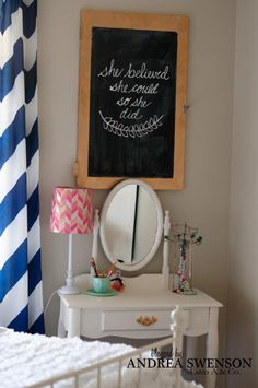 love the chalkboard (old kitchen cabinet)