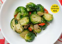 Stir-fried Brussels sprouts w/garlic & chilis