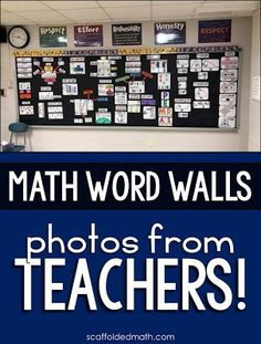 This post is filled with classroom math vocabulary wall photos shared by Teachers! Making math word walls brings me so much joy, and seeing them in your classrooms is just so incredible. Thank you so so so much for sending these wonderful photos to me. Math Teacher, Math Classroom, Teaching Math, Classroom Decor, Future Classroom, Math Vocabulary Wall, Vocabulary Ideas, Sixth Grade Math, Ninth Grade